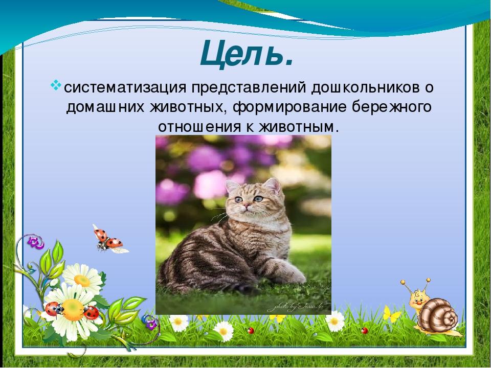 Цель. систематизация представлений дошкольников о домашних животных, формиров...
