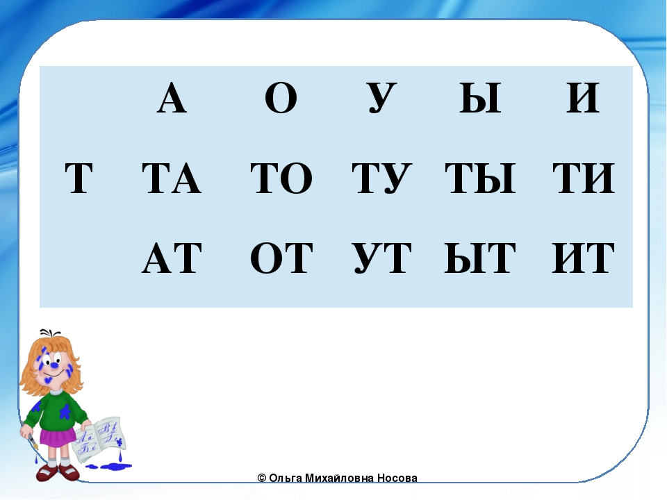 А О У Ы И Т ТА ТО ТУ ТЫ ТИ АТ ОТ УТ ЫТ ИТ ©Ольга Михайловна Носова