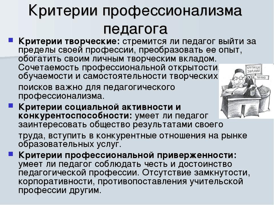 Критерии профессионализма педагога Критерии творческие: стремится ли педагог...