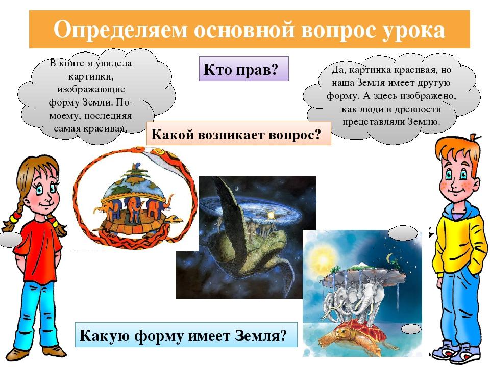 Определяем основной вопрос урока В книге я увидела картинки, изображающие фор...
